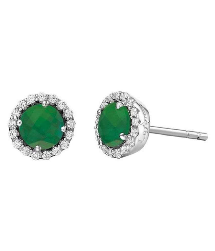 Kundli Gems - Pure Silver Green Created Emerald Round Single Solitaire Stud Earrings for Womens