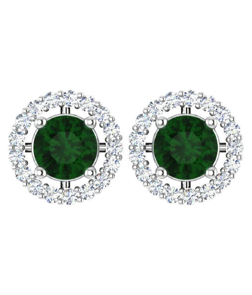 Natural Green Emerald Silver earrings for girls by  KUNDLI GEMS