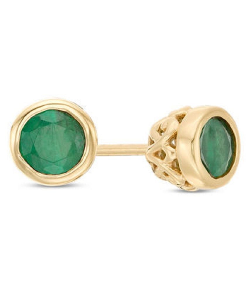 Pure Gold Plated & Original Green Emerald Stone Earring Panna Earrings For Women by  KUNDLI GEMS