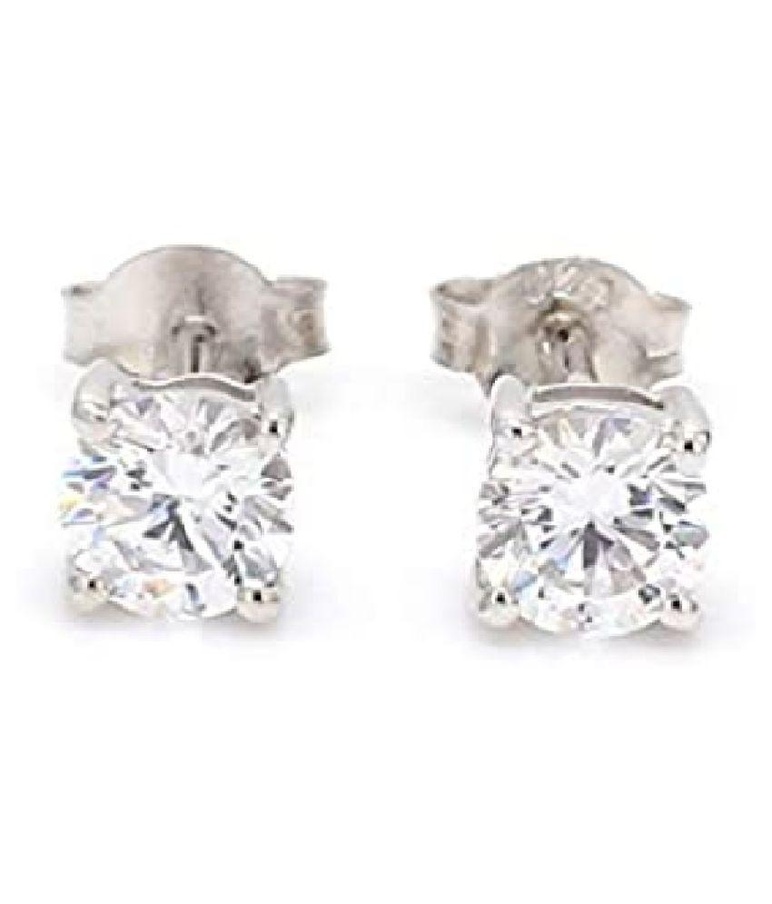 American Diamond Stud Sterling Silver Earrings for Women & Girls,  by Ratan Bazaar