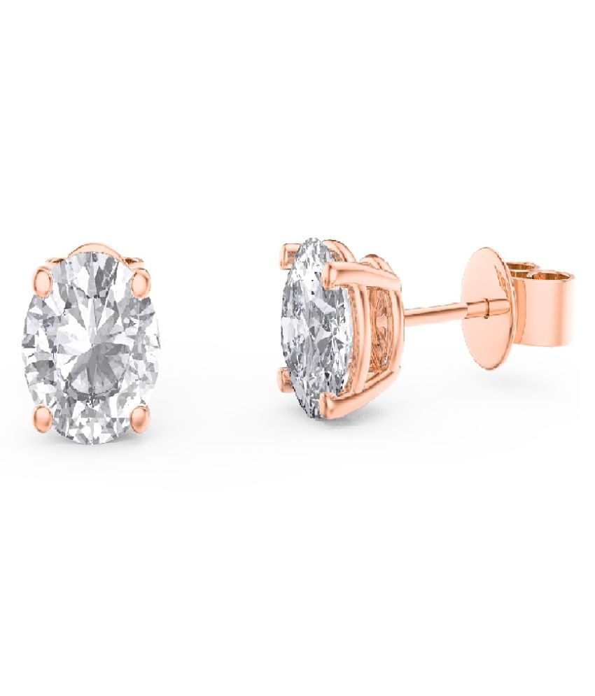 American Diamond Studs Gold Plated  Earrings For Womenby Ratan Bazaar