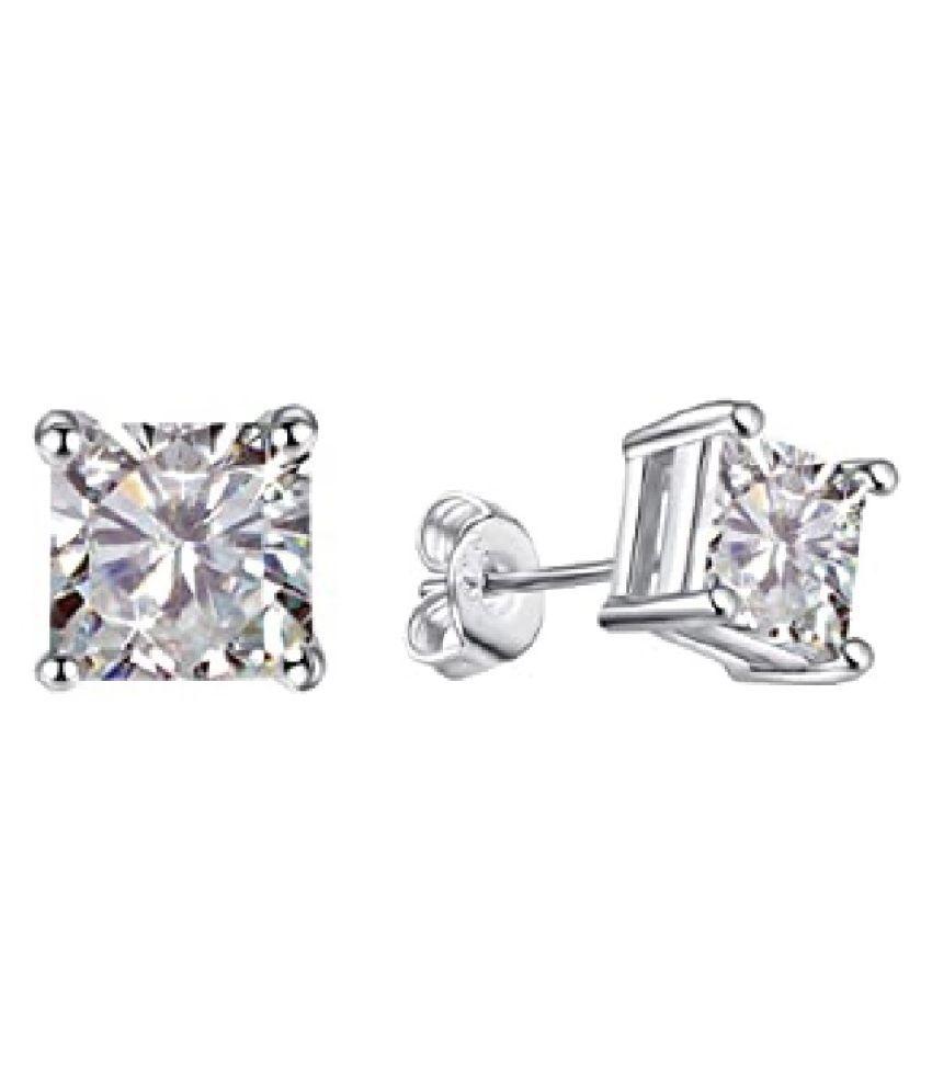 American Diamond Studs Silver Earrings for Women and Girls Party Wear Fashion Jewellery by Ratan Bazaar