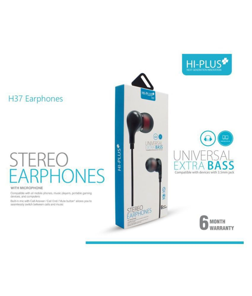 HI-Plus H-37 In Ear Wired With Mic Headphones/Earphones