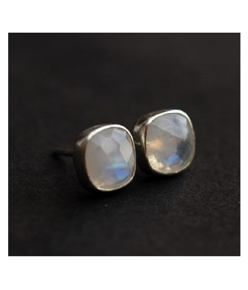 Kundli Gems - Gold Plated MOONSTONE Stud Earrings Beautiful Indo-Western Ethnic Fashion Jewellery for Girls and Women