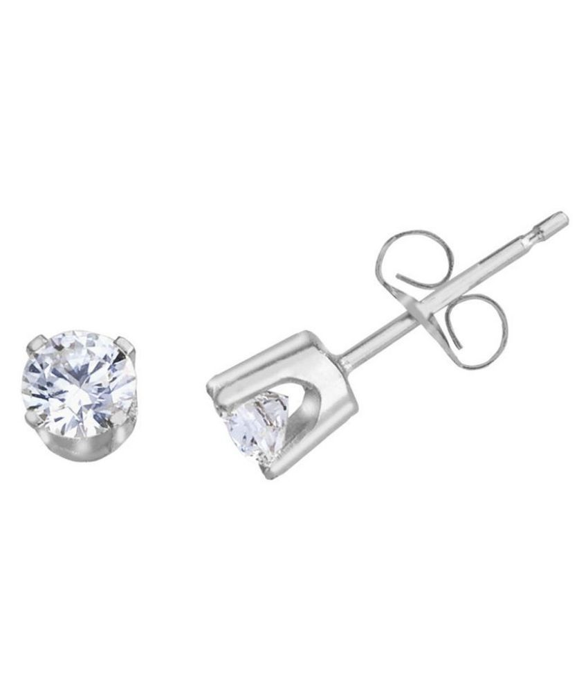Kundli Gems - Studs Collection Sterling Silver American Diamond Stud Earrings for Women & Girls,