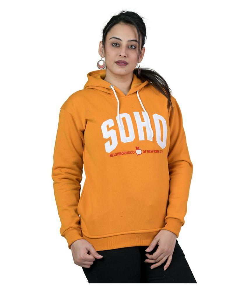 LEEBONEE Fleece Orange Hooded Sweatshirt