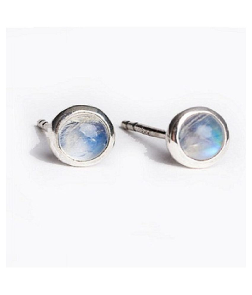 Sterling Silver with Natural  MOONSTONE stud earrings for girls & Women by Kundli Gems
