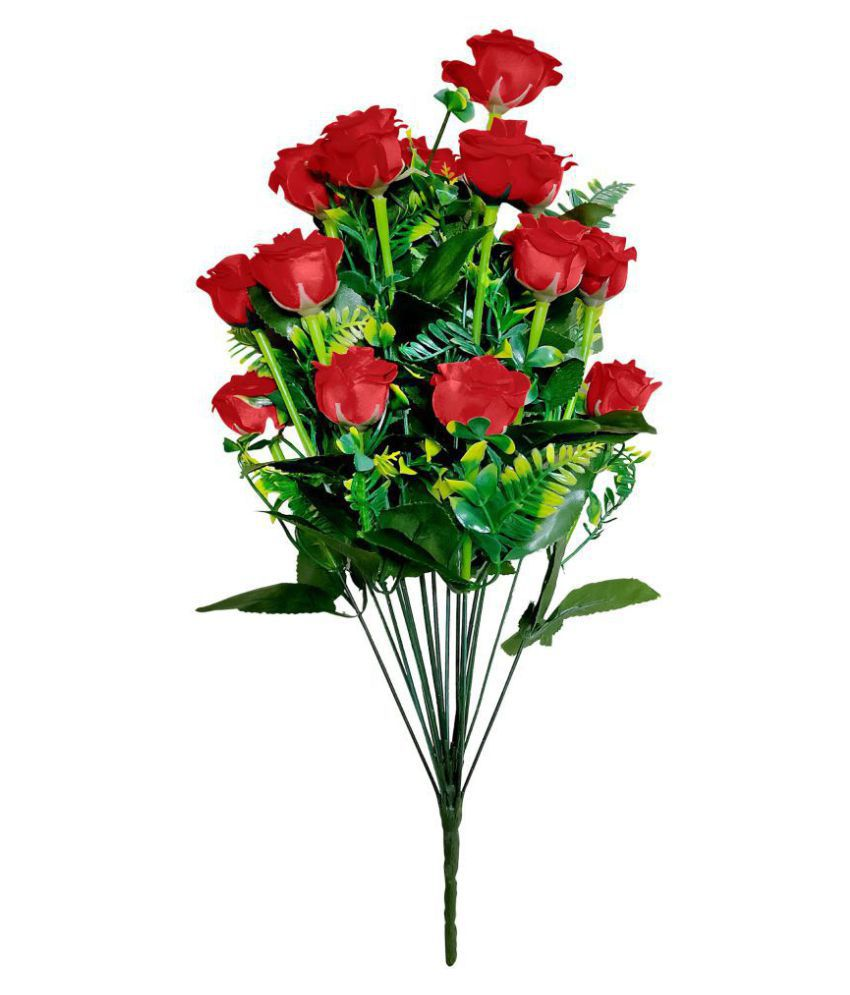 fns store Rose Red Artificial Flowers Bunch - Pack of 1