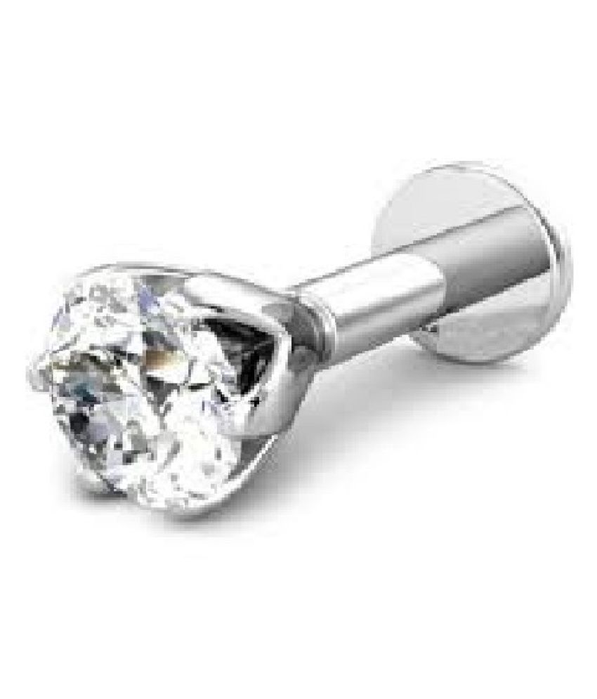 American Diamond and Sterling Silver Nose Pin With Piercing Stud For Womensby Kundli Gems