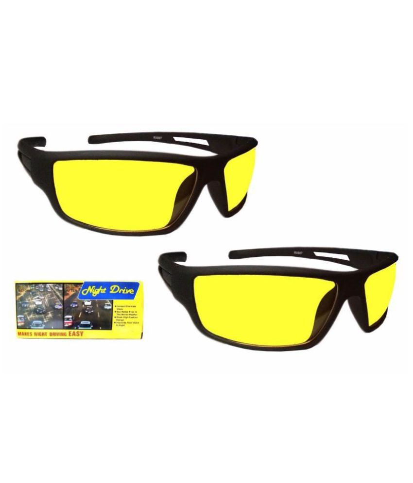Anti Glare   Around Day and Night Vision UV Protection Unisex Sunglasses for Car Bike Drivers  (Yellow Box Set Of 2)  With 3 in 1 pen