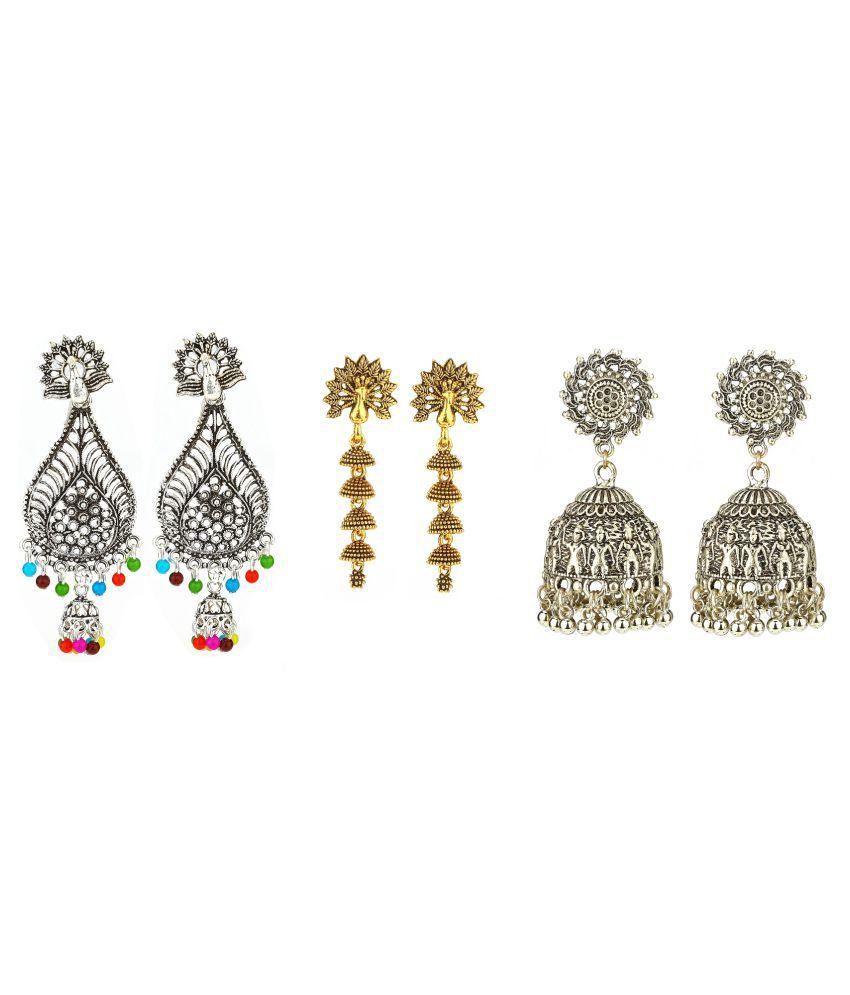 Gautam Combo of Trendy Gold plated Hoop Earrings Jewellery for Women and Girls set of 3 Pair (G,I,J)