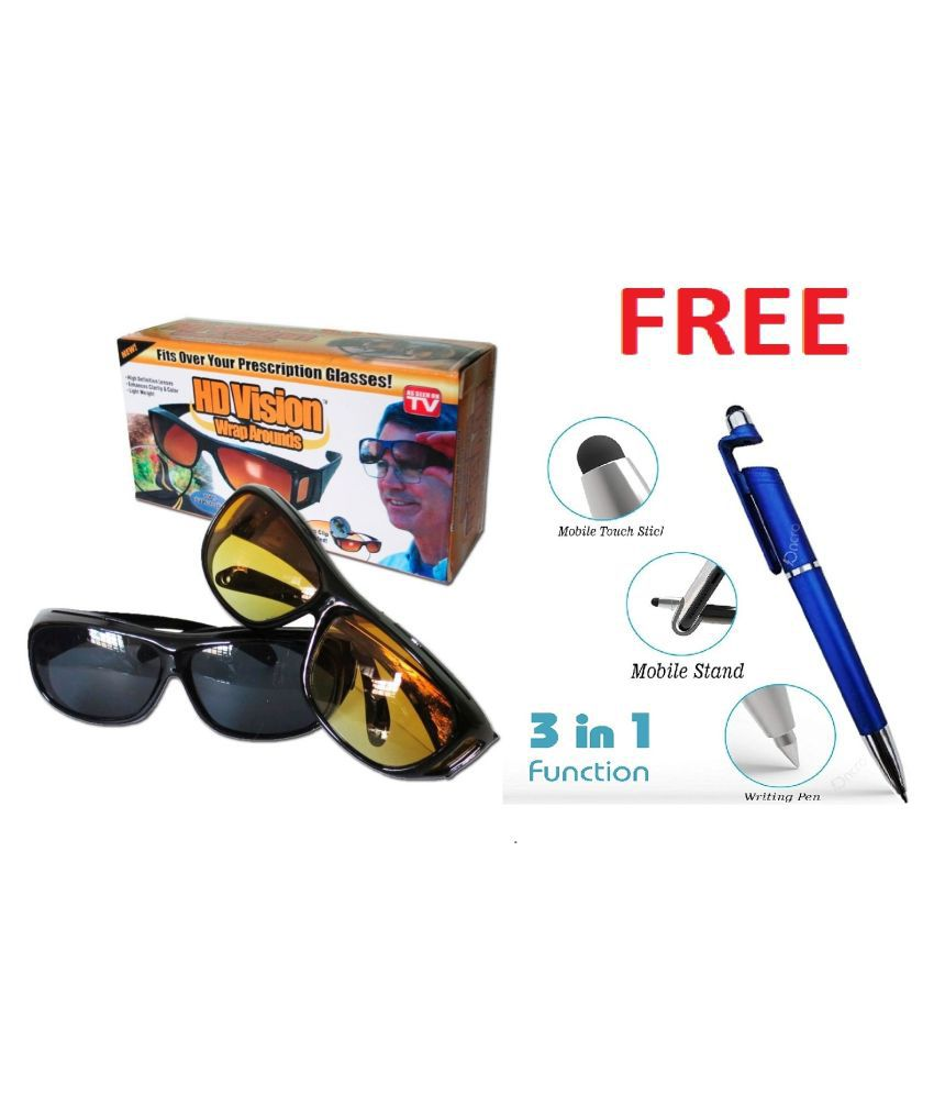 HD Vision Anti Glare Sunglasses Wrap Around Day & Night Driving (yellow & Black)  With 3 in 1 pen