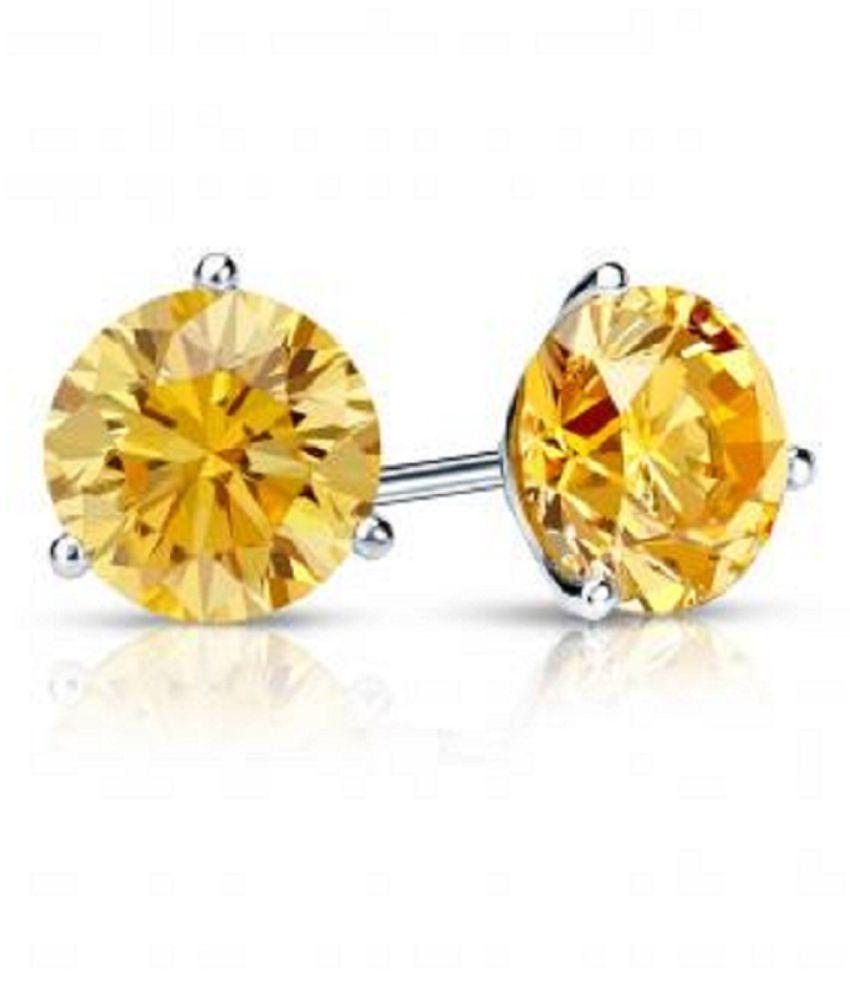 KUNDLI GEMS  - Yellow Sapphire(Pukhraj) Studs Silver Earrings for Women and Girls Party Wear Fashion Jewellery