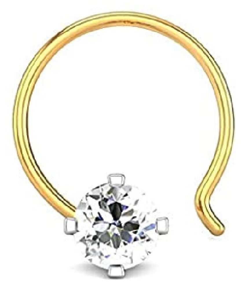 Kundli Gems - American Diamond Gold Plated Nose pin Natural & Original Stone Diamond nosepin for Women & Girls