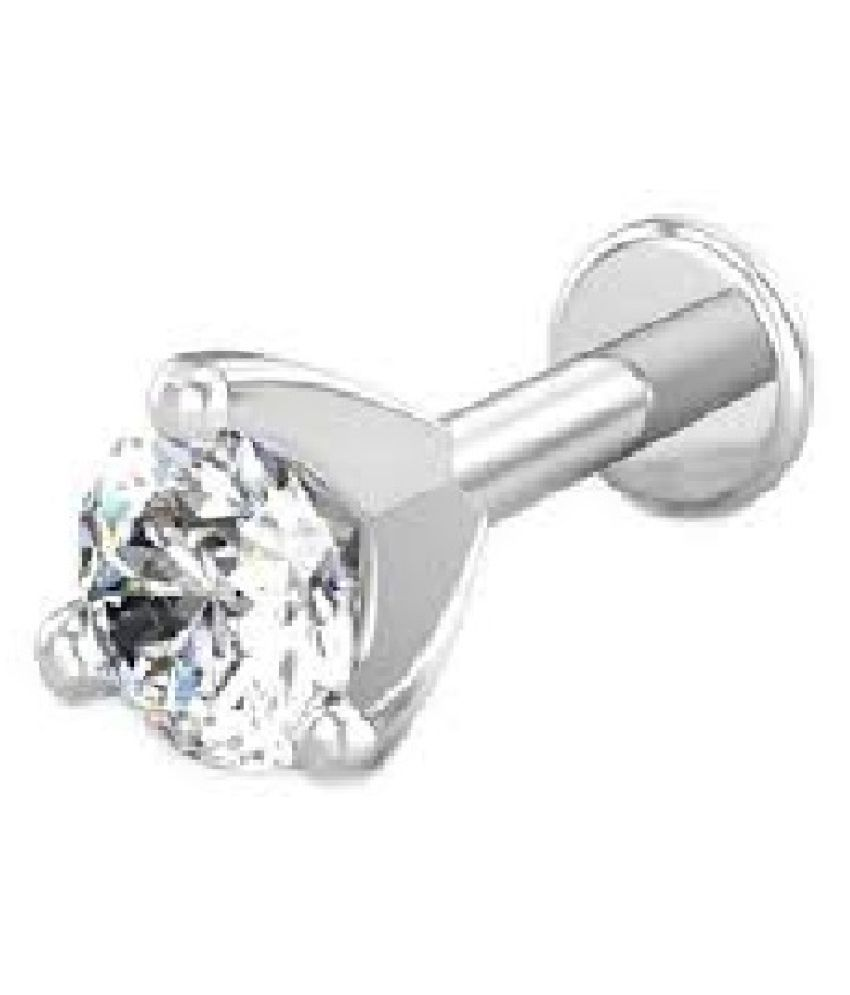 Kundli Gems white american diamond nosepin natural & original gemstone silver nose pin for women & girl