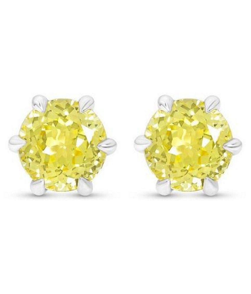 RATAN BAZAAR  -Natural  Yellow Sapphire(Pukhraj) Stud Earring Precious  Silver Earring for Girls