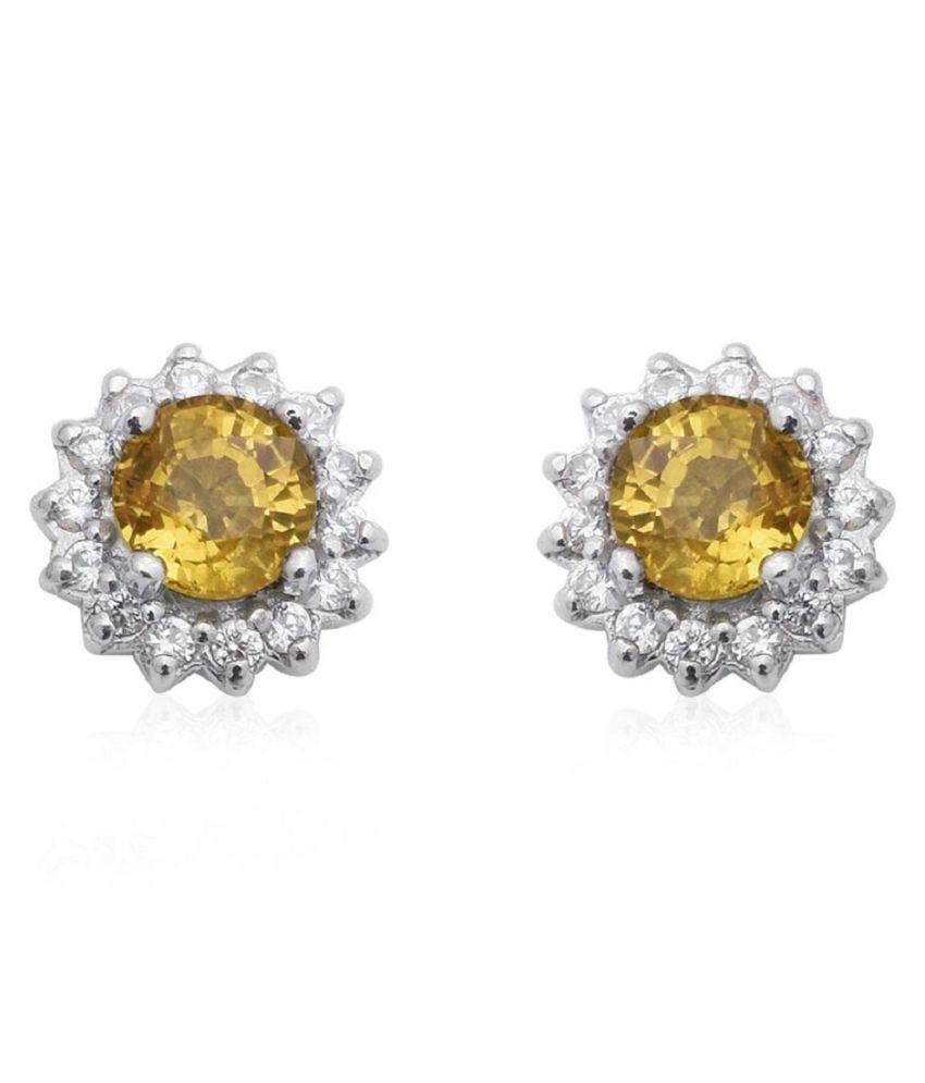 RATAN BAZAAR  -Silver Earring With  Unheated   Yellow Sapphire(Pukhraj) Stud Earrings Certified   Earring For Women