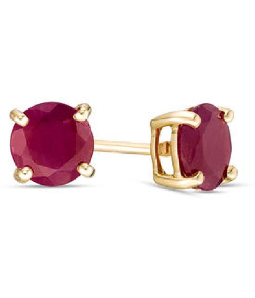 Unheated   Ruby(Manik)  Stud Gold Plated Earrings Certified   Earring For Women by  KUNDLI GEMS