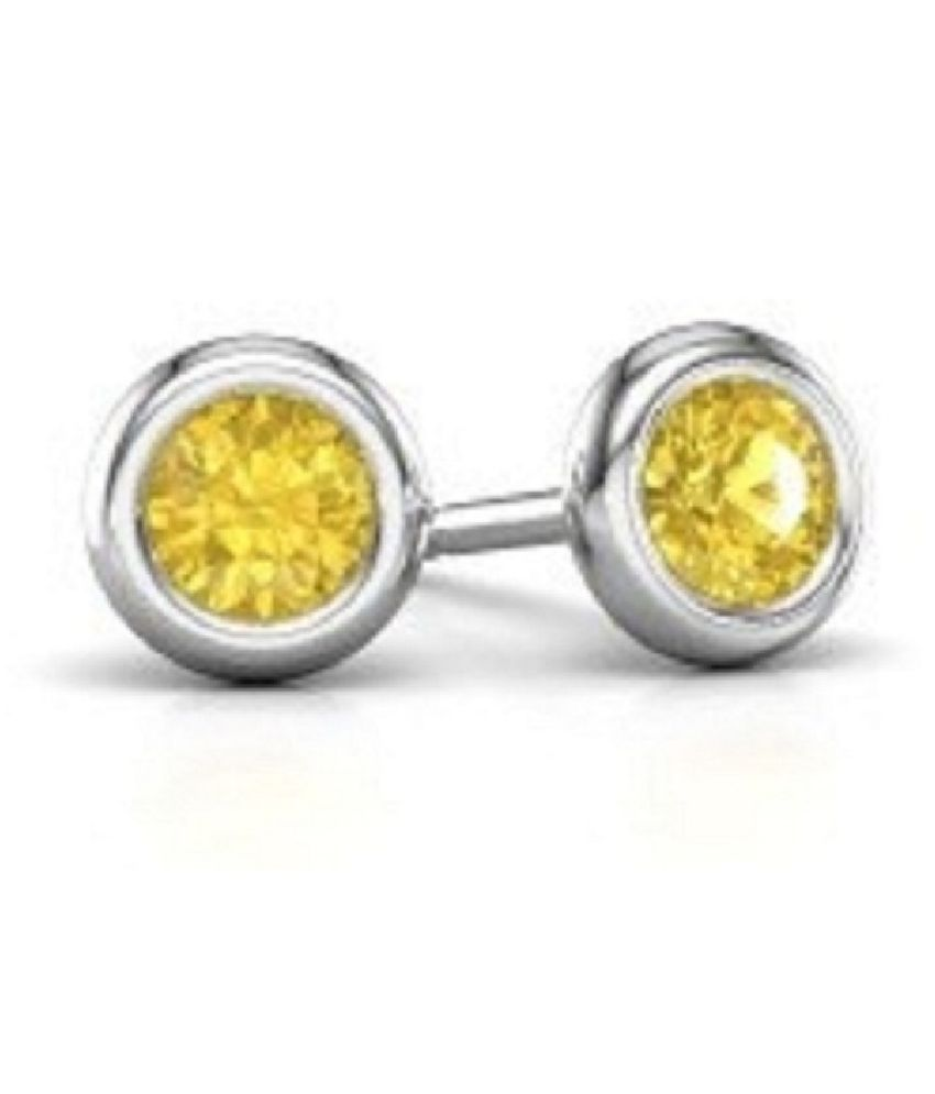 Yellow Sapphire(Pukhraj) Stud Sterling Silver Earrings for Women & Girls,  by  RATAN BAZAAR