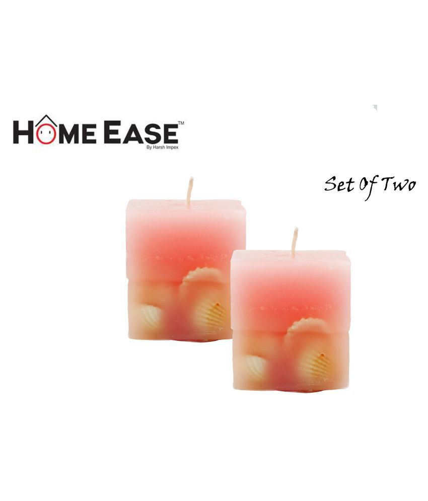 Harshpet Pink Pillar Candle - Pack of 2