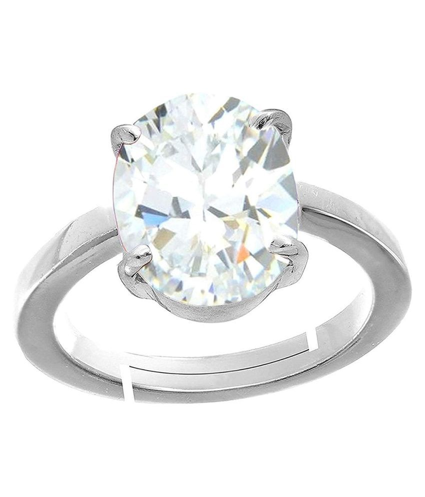 7.25 ratti Natural ZIRCON  Stone Unheated Lab Certified pure Silver Ring by RATAN BAZAAR\n