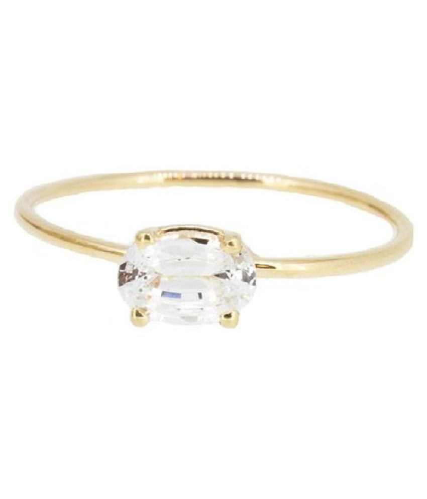 7 Ratti Natural Certified White Sapphire Gemstone Gold Plated Ring by KUNDLI GEMS