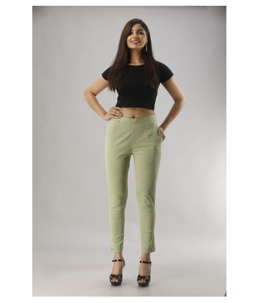 AIRA FASHIONS Cotton Lycra Jeggings - Green