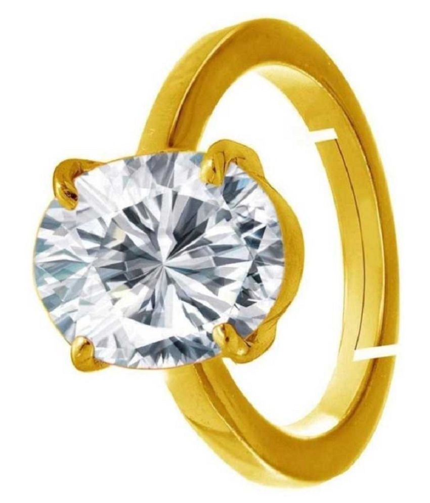 ZIRCON Ring with  Original Lab Certified Stone 7 Ratti gold plated Ring by RATAN BAZAAR