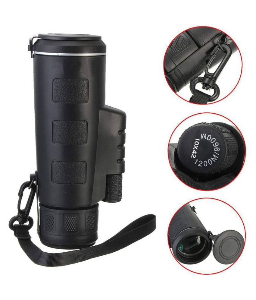 10x42 High Definition Monocular with Smartphone Adapter & Tripod, Waterproof Fog Proof Pocket