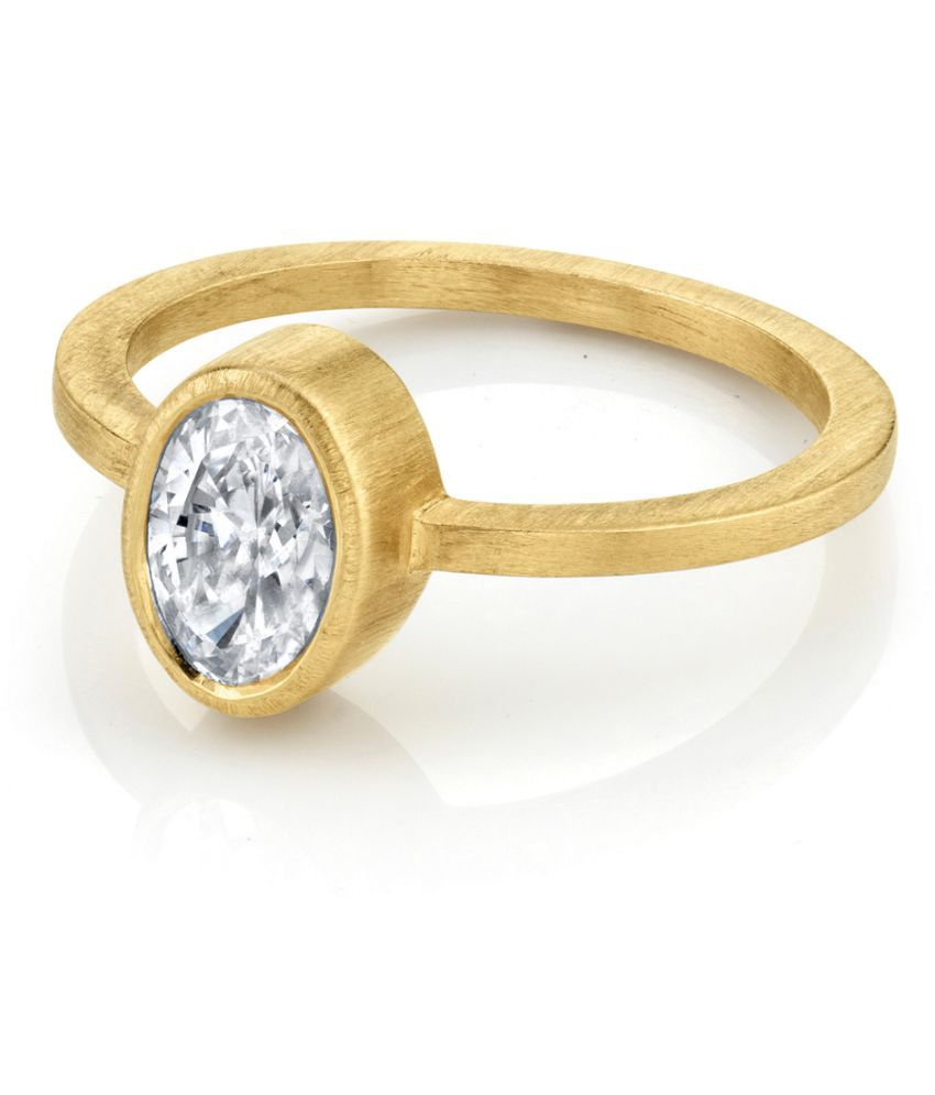 8.25 ratti Natural  White Sapphire Stone Gold Plated Ring for Astrological White Sapphire Ring by Ratan Bazaar