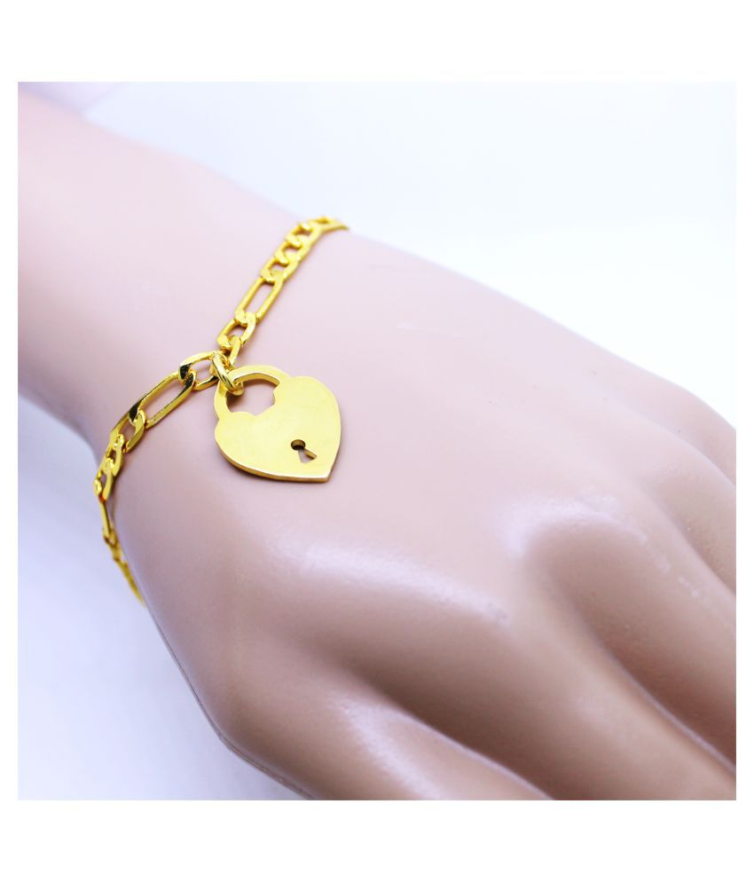 Cute Love Lock Heart Bracelet Charm Bracelet Simple Brass Valentines Gift For Her by GoldNera