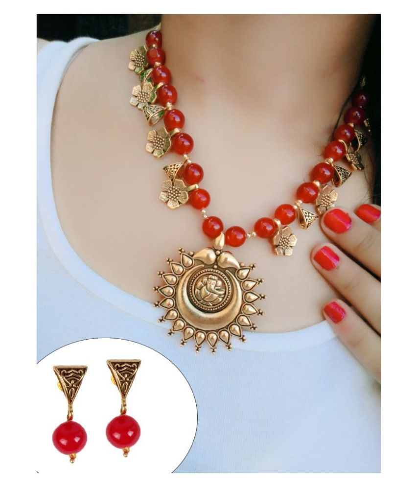 Darshini Designs Alloy Red Collar Traditional Gold Plated Necklaces Set