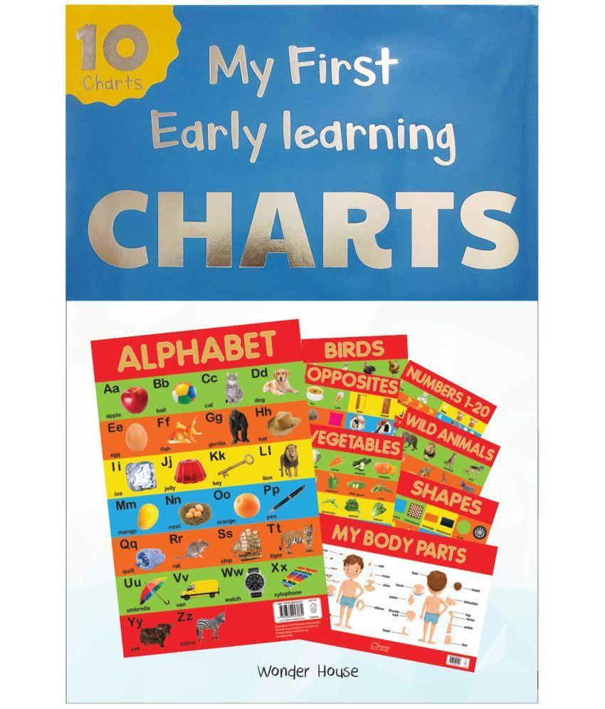 Early Learning Educational 10 Charts Boxset for Kids: Perfect for Homeschooling, Kindergarten and Nursery Students (11. 5 Inches X 17. 5 Inches) .. Fruits, Vegetables, Opposites, My Body Parts