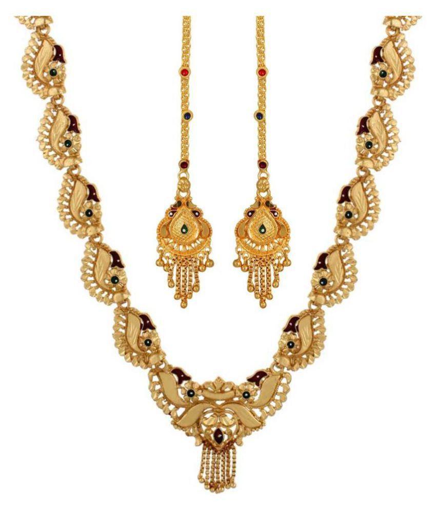 GoldNera Brass Golden Traditional Necklaces Set Statement