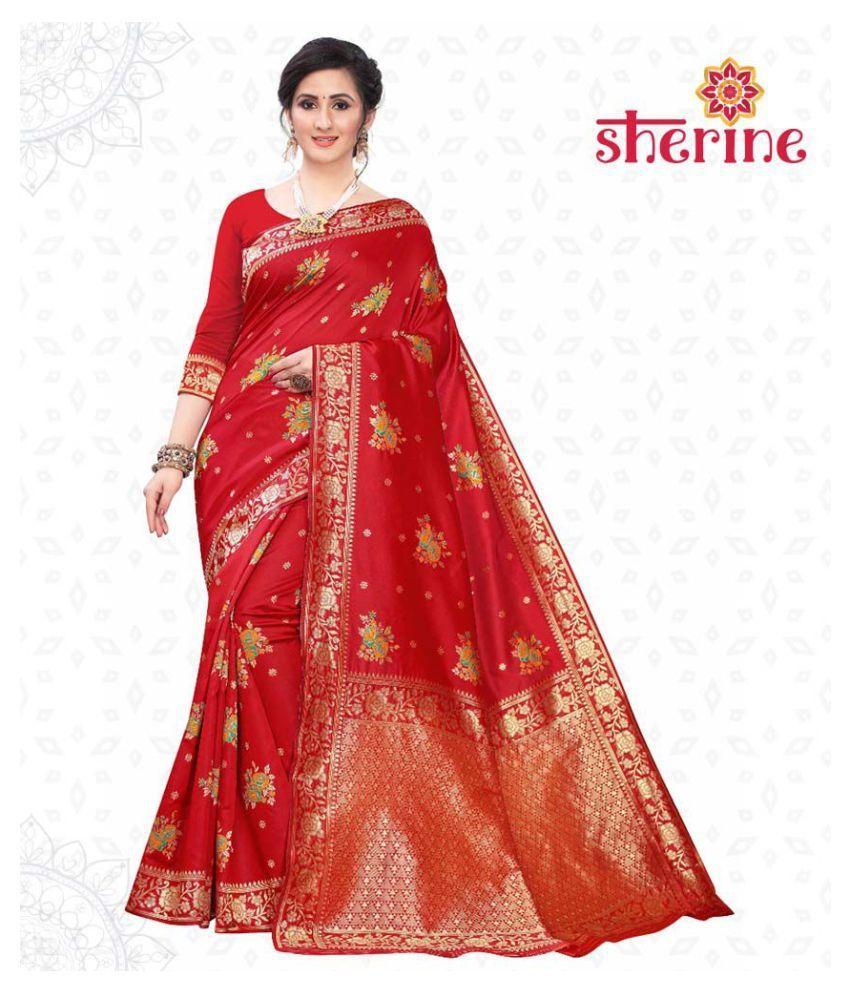 Sherine Red Jacquard Saree