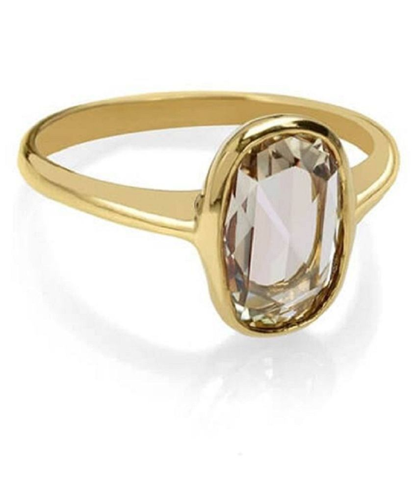 White Sapphire  Ring Stone 7.5 Ratti Gold plated Ring Natural Stone By Ratan Bazaar