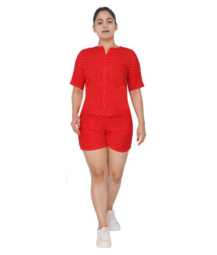 Zephyrr Rayon Nightsuit Sets - Red
