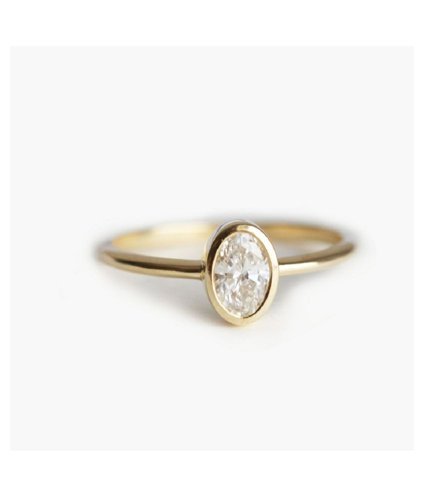 9 ratti stone pure White Sapphire Gold Plated Ring for unisex by Ratan Bazaar\n