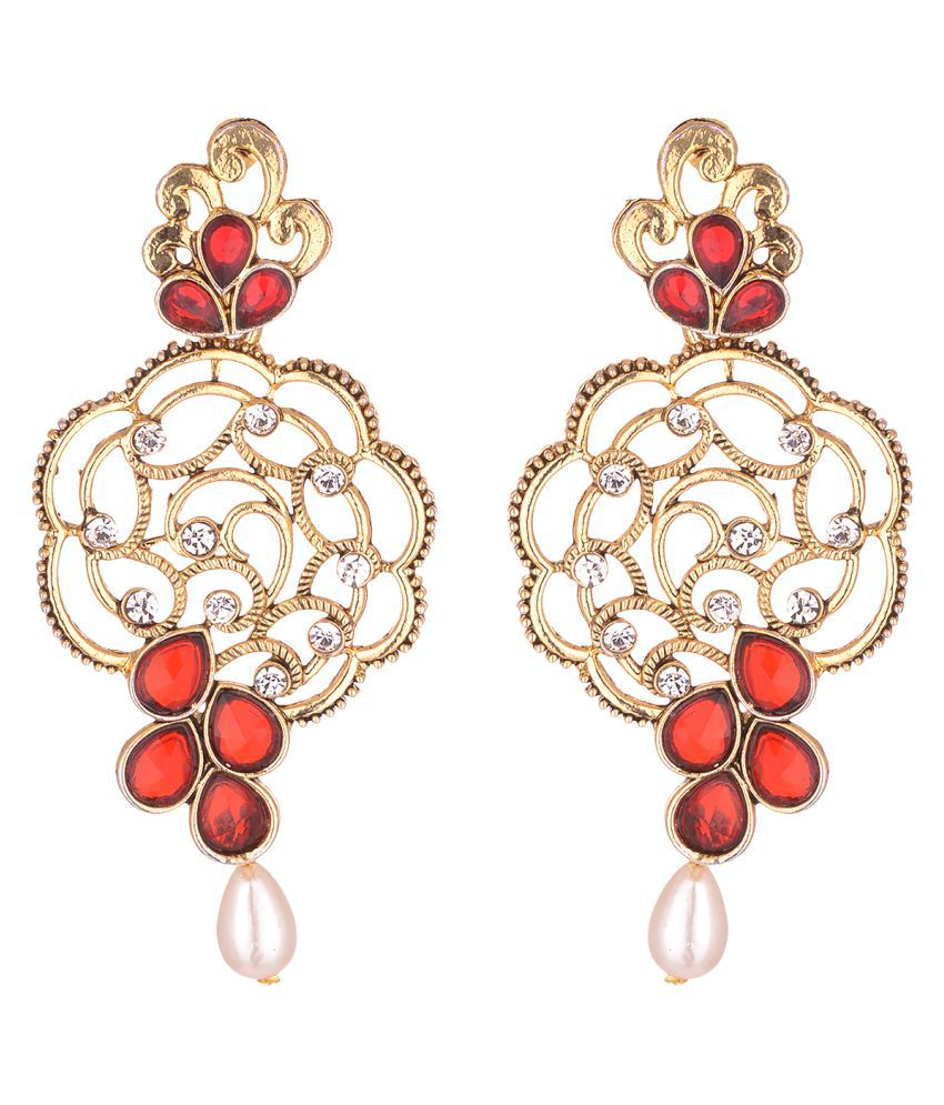 Asmitta Kundan Studded Gold toned Dangle Earrings with Pearl Drop for Women and Girls