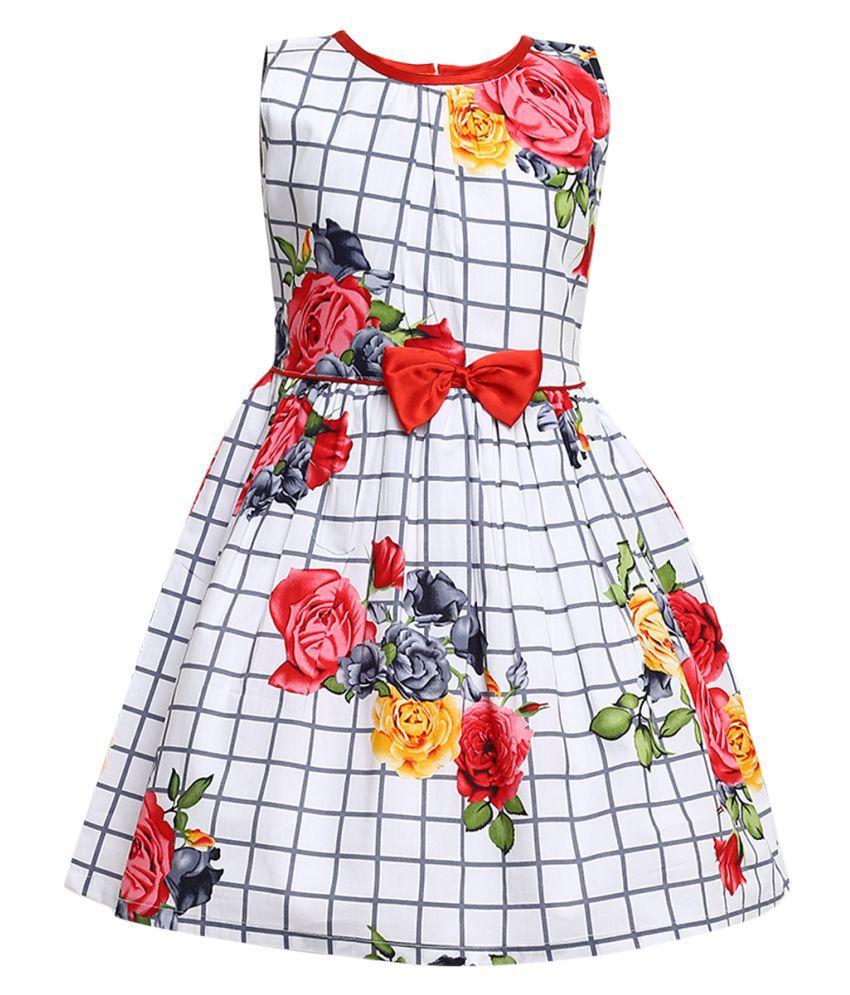 Round Neck Casual Dress (White_1-2 Years)