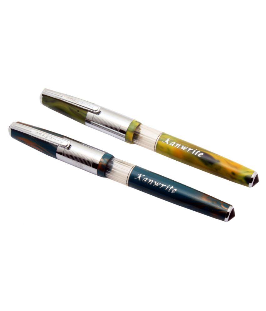 Kanwrite Eyedropper Demonstrator Flex Nib Fountain Pen Vintage Look Lot Of 6