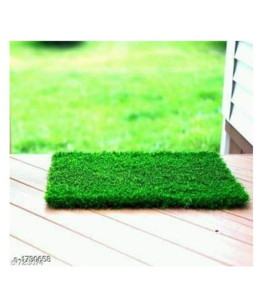 charayas Green Artificial Grass Single Door Mat ( 16 X 24 Inch)