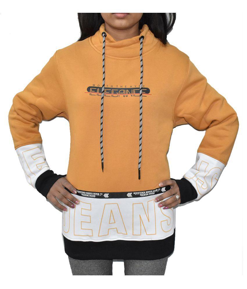 Swaggers Woollen Yellow Non Hooded Sweatshirt