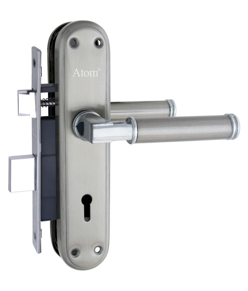 Atom Mortise Door Lock Skoda Dotted K.Y. 7 Inch Mortice Handle Pair in Satin Finish with Legend 65 mm Brass Dead Bolt Double Action 6 Lever Lock.