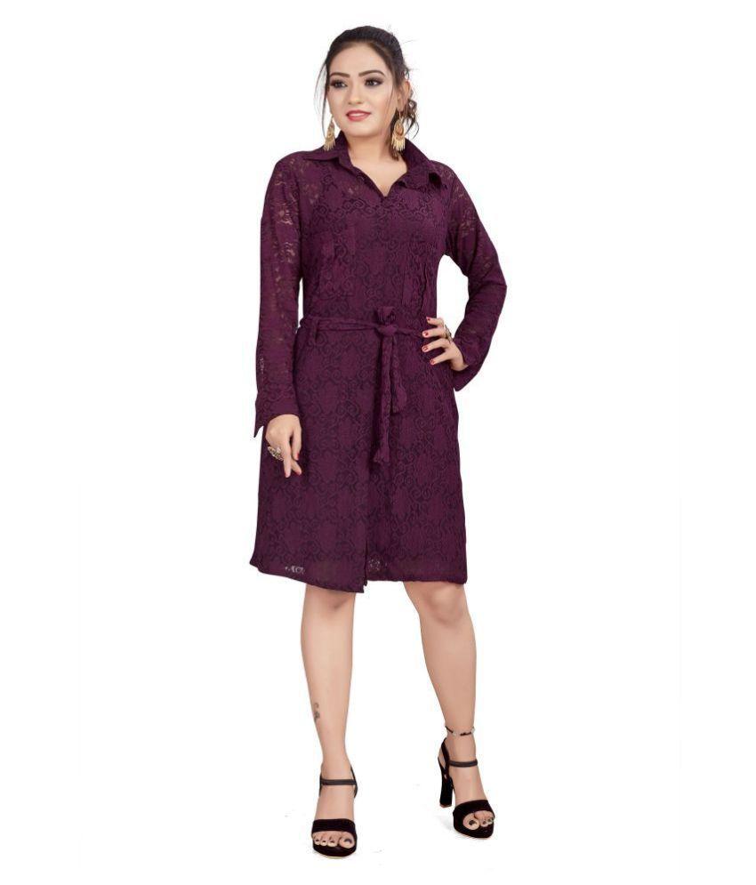 SK Creation Polyester Maroon Shirt Dress