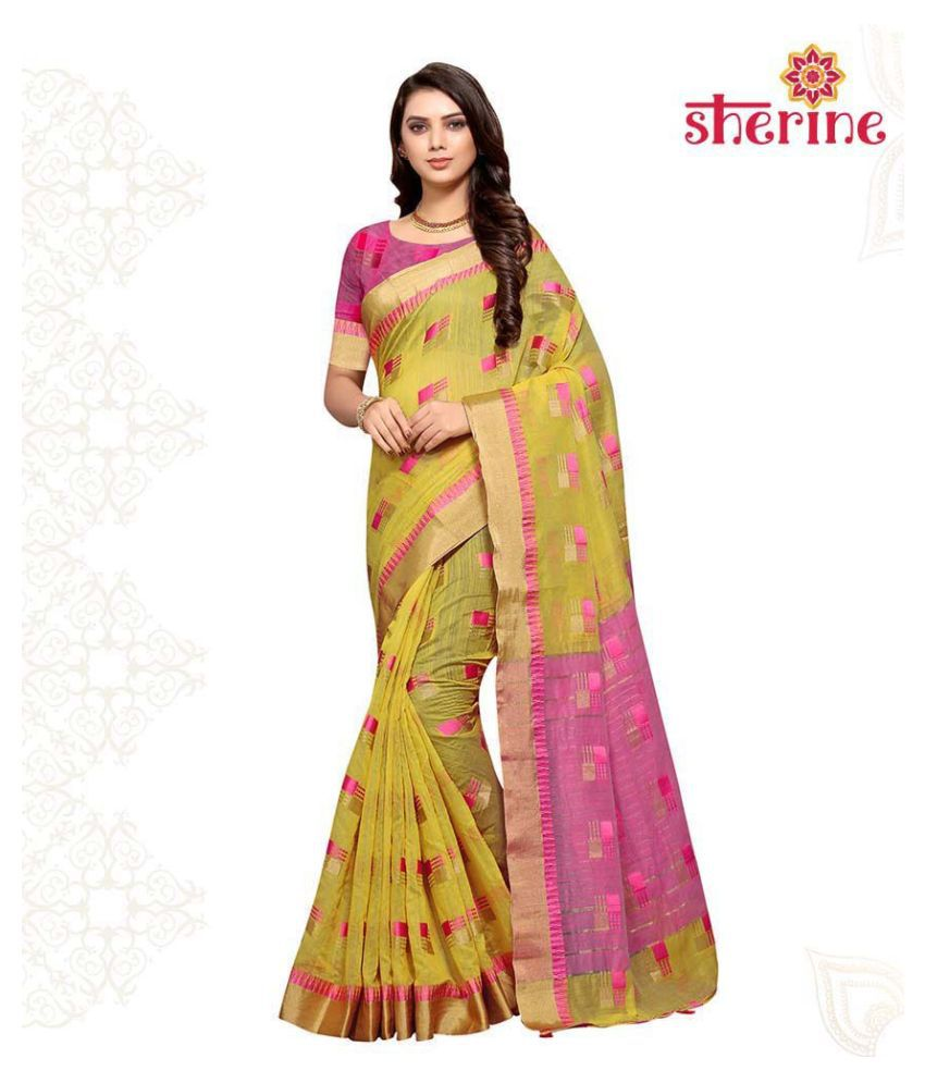 Sherine Yellow Cotton Silk Saree