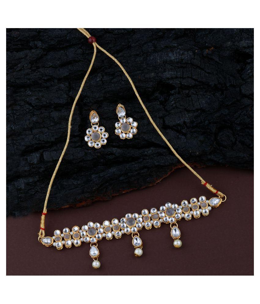 ShreejiHuf Alloy Gray Contemporary/Fashion Necklaces Set Choker