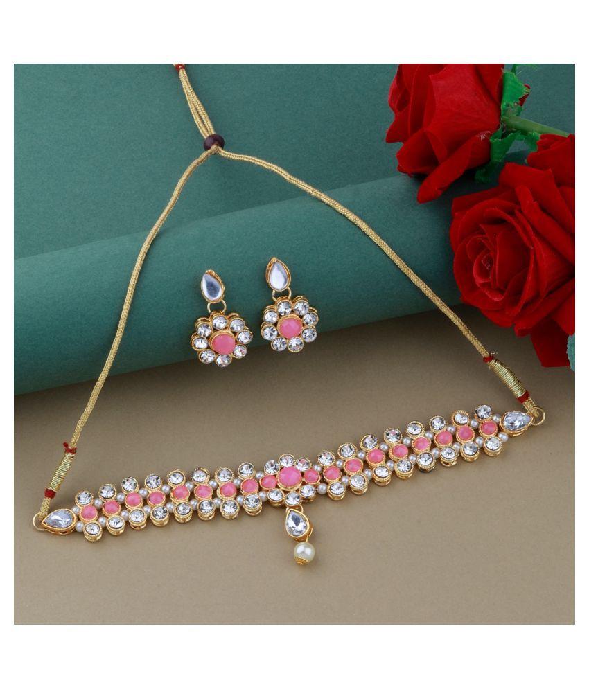 ShreejiHuf Alloy Peach Contemporary/Fashion Necklaces Set Choker