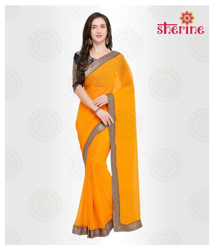 Sherine Yellow Chiffon Saree