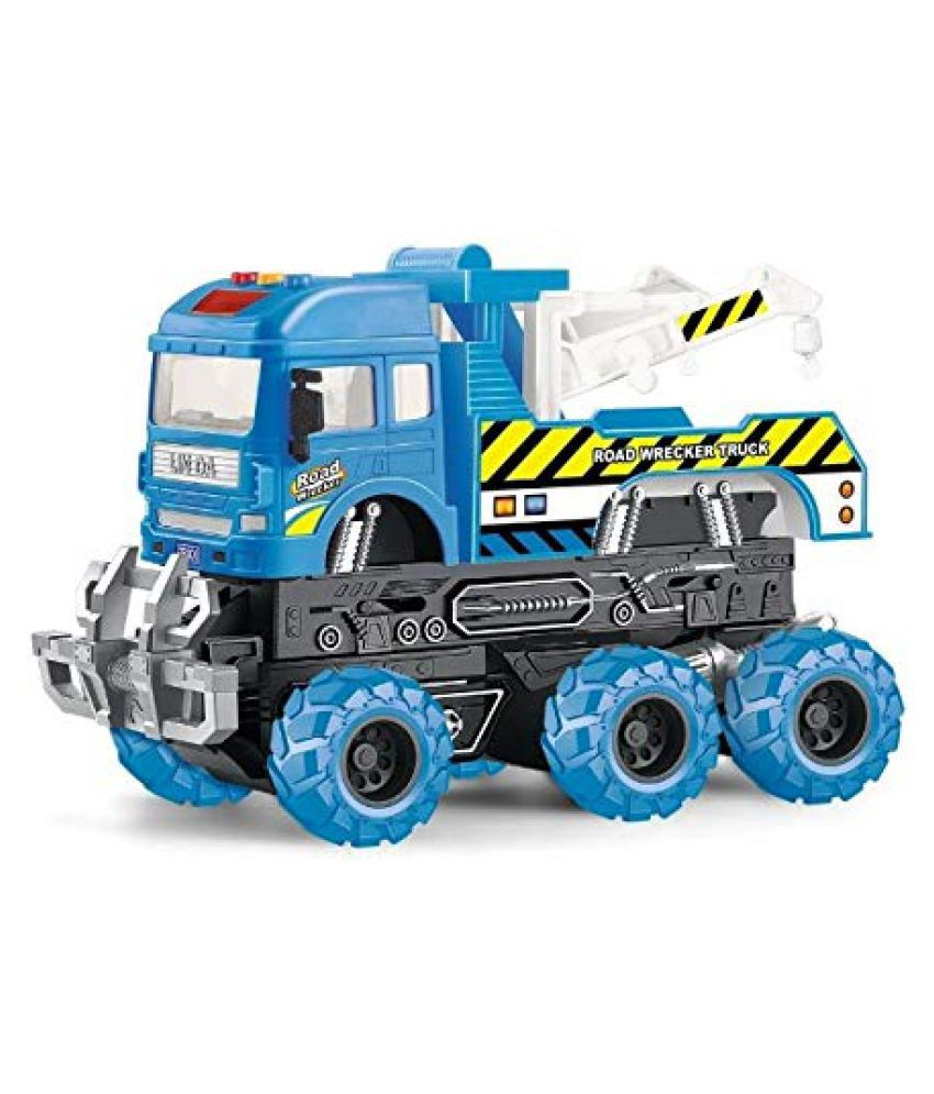 VBE  6x6 Wheeler Tow Truck Toy Friction Powered Unbreakable Truck with Light & Sound Engineering Toys For Boys And Girls
